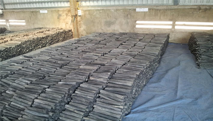 Packing of binchotan charcoal