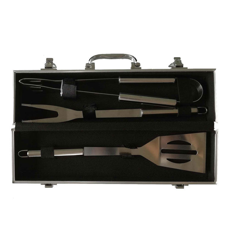 Stainless Steel BBQ Tools 3pcs Tools Set in Aluminum Case For Outdoor Barbecue