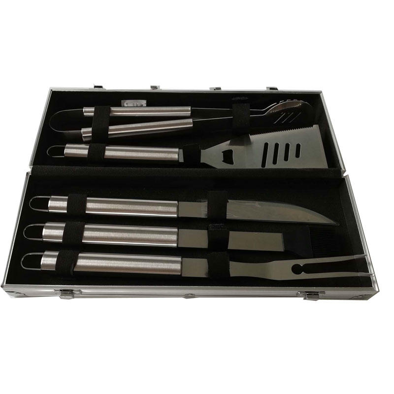 5pcs Stainless Steel BBQ Tools Set with Aluminum Case