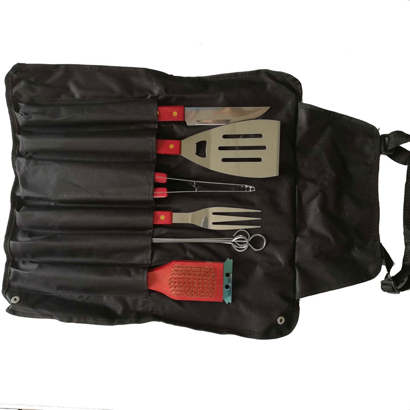 Longzhao BBQ Apron 9pcs BBQ Tools Set with Wooden Handle for BBQ Gatherings Barbecue Accessories image8