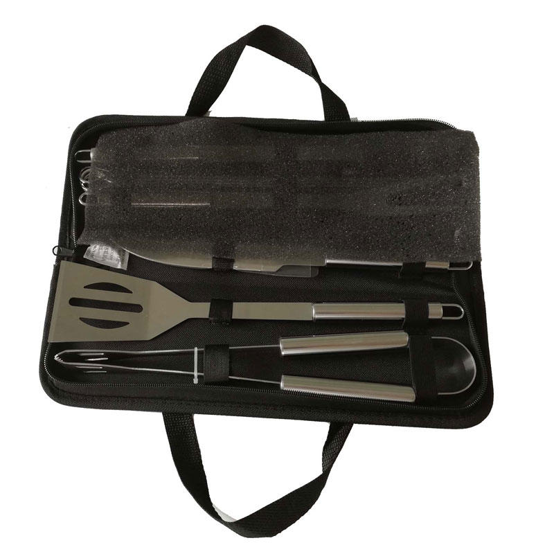 Stainless Steel Easily Carried 9pcs BBQ Tools Set with Oxford Bag