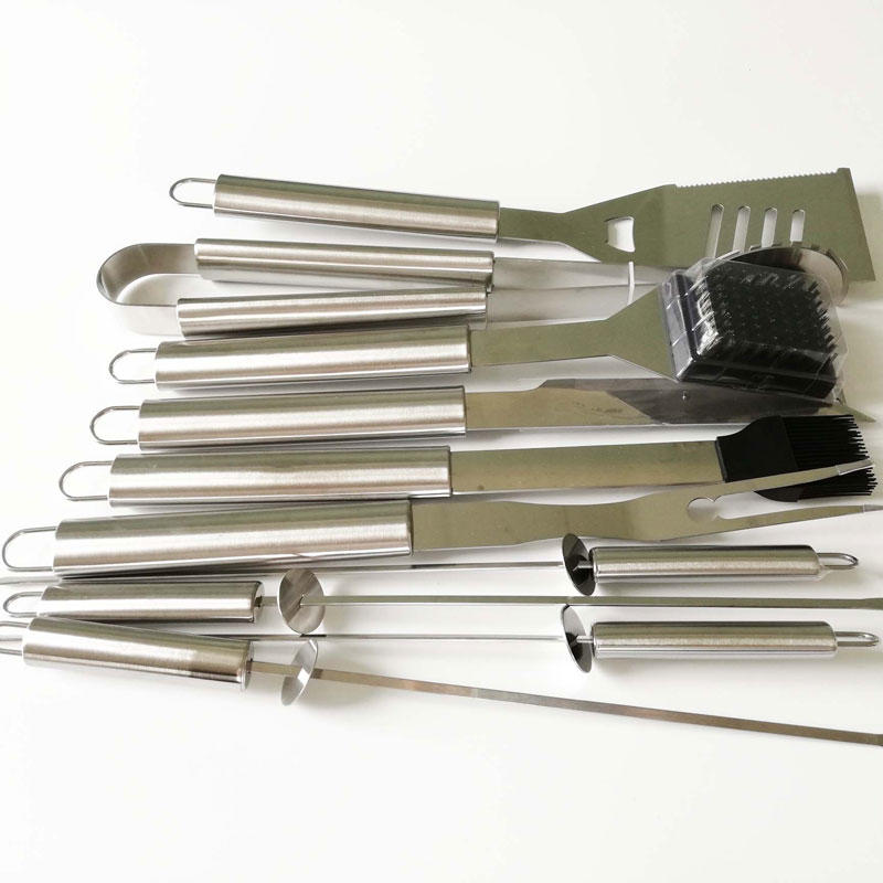 10pcs BBQ Tools Set Stainless Steel Tools with Aluminum Box for Camping