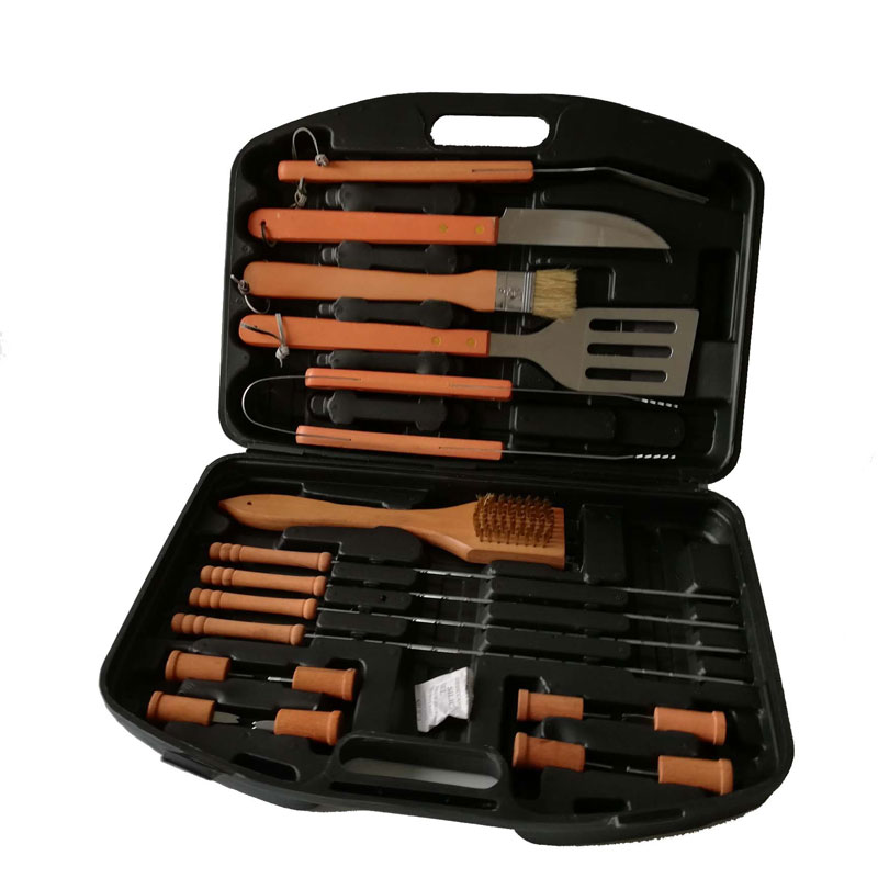 Longzhao BBQ Outdoor Camping Heat Resistance Wooden Handle BBQ Tools Set with Plastic Case Barbecue Accessories image5