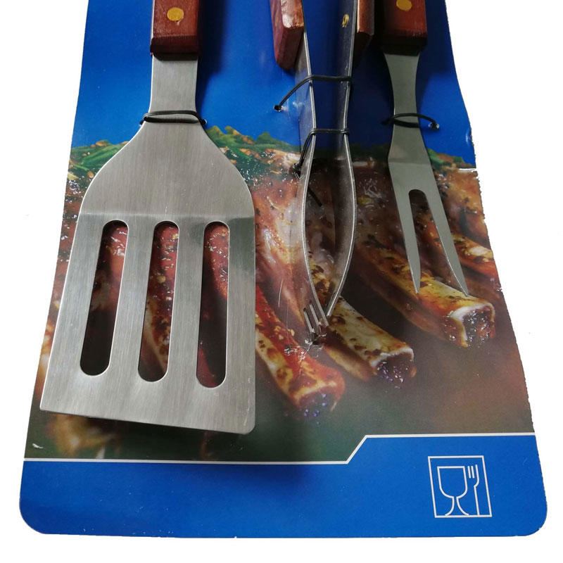 3PCS Wooden Handle BBQ Tools Set with Cardboard-3% Off For Bulk Order