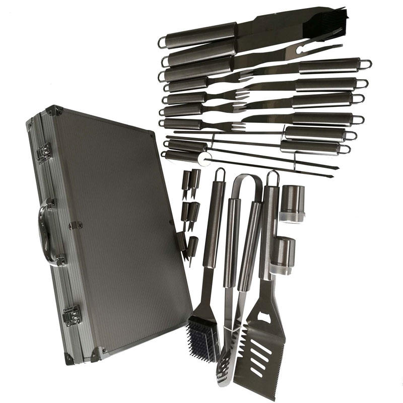 Easily cleaned Stainless Steel 26pcs BBQ Tools Set with Aluminum Case