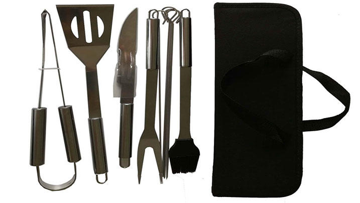9pcs Stainless Steel BBQ Tools Set with Oxford Bag