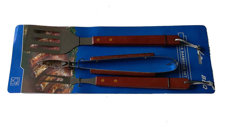 3PCS Wooden Handle BBQ Tools Set with Cardboard