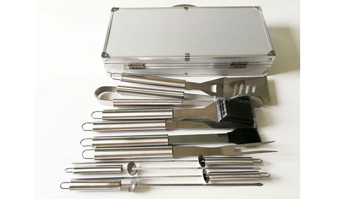 10pcs Stainless Steel BBQ Tools Set with Aluminum Case