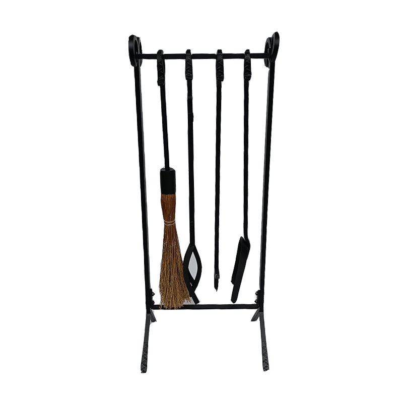 5 Piece Hand Forged Iron Fireplace Tool Set with Poker, Tongs, Shovel, Broom, and Stand - FT008