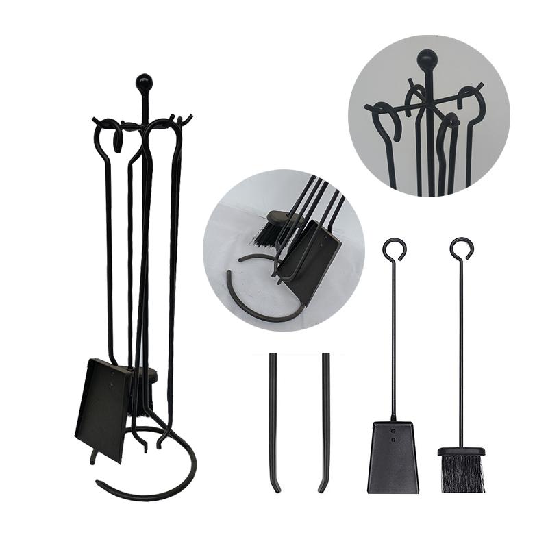Wrought Iron Fireplace Tool Set - FT009