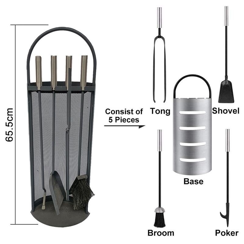 Fireside Companion Set, Steel Fireware Fire Tool Set with Standl - FT012