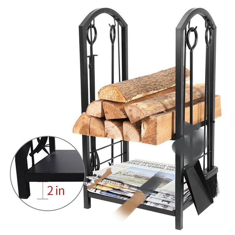 Firewood Log Rack Fireplace Tool Sets Indoor Outdoor Fireplace Log Carriers Holders - FT022