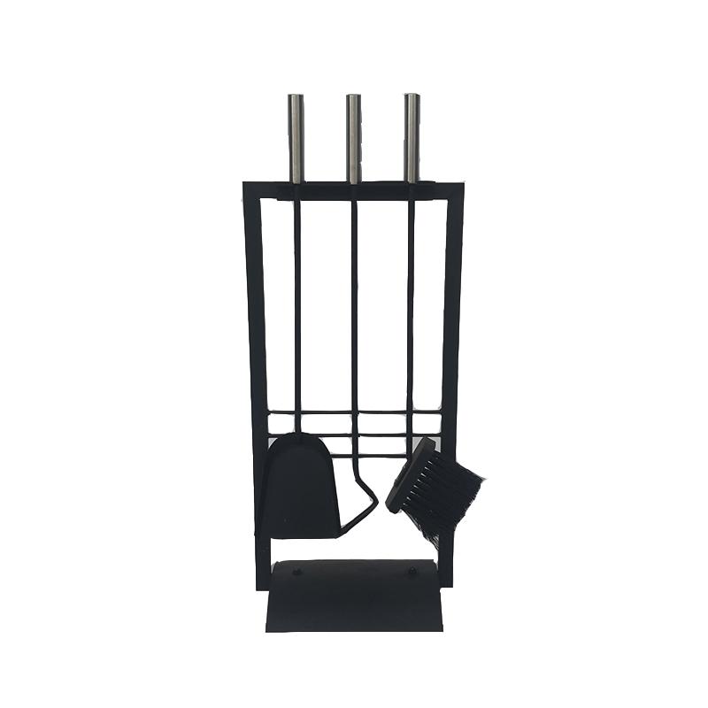 Wrought Iron Fireplace Companion Set Fireside Tool Set, Fireset Fire Pit Stand Holder - FT021