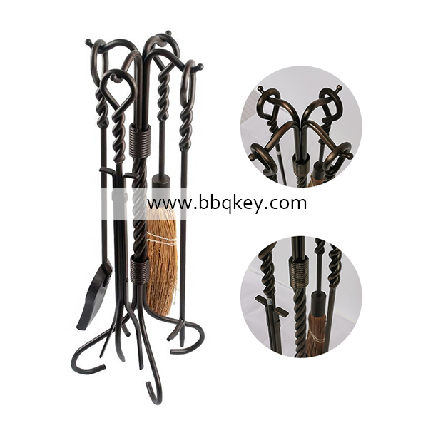 Wrought Iron Antique Brass Fire Place Tools Set 4 pcs Fireplace Tools