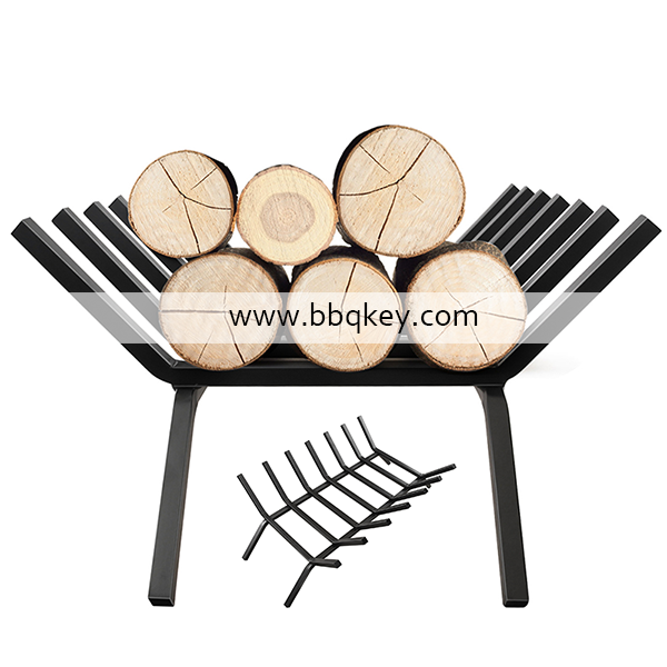 Indoor Outdoor Foldable Iron Metal Fire Logs Fireplace Firewood Rack Log Holder For Fireplace