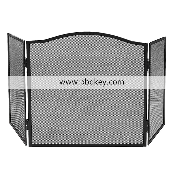 3 Panel Metal Fireplace Fireside Stand Screen Cover Guard Fireplace Screen For Flame Prevention
