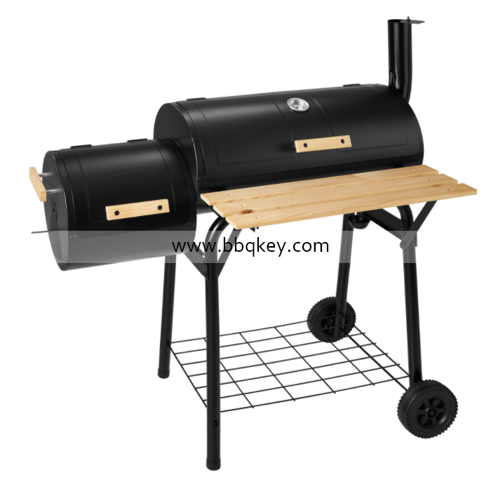 No Smoke Charcoal Grill Smoker Trolley With Thermometer Side Table Tray