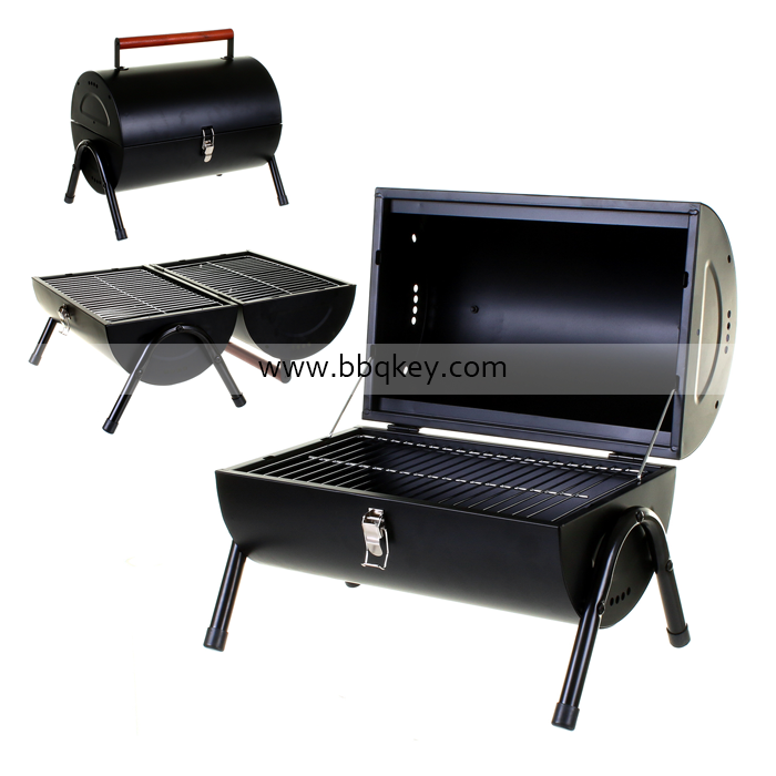 Outdoor Portable Black-coated Barrel Table Top BBQ Cooking Grill With Lid/Stopper Thermometer