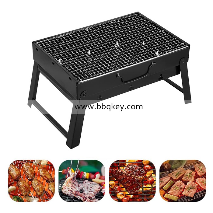 Black Stainless Steel Portable Folding Outdoor Household Charcoal BBQ Grill Factory Direct Supply