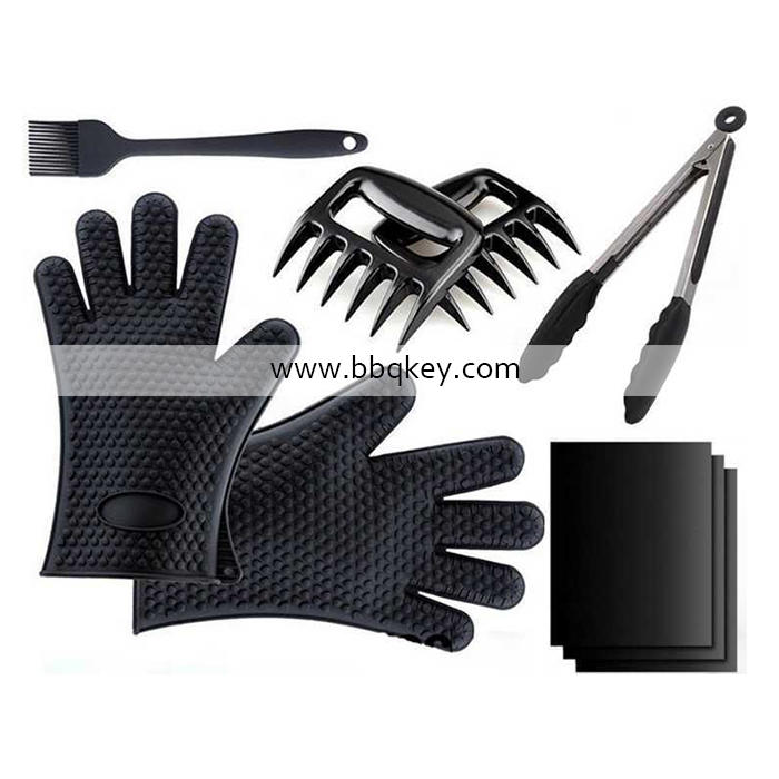 OEM Silicone Glove 9PCS BBQ Tool Set For Insulation, Baking BBQ Accessories