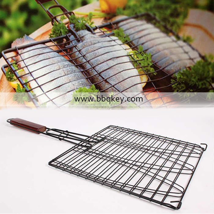 Wholesales Barbecue Grill Wire Non-Stick Stainless Steel Folding BBQ Grill Rack with Removable Handle