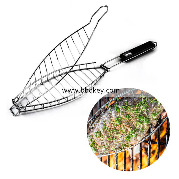 Helpful BBQ Fish Basket Wire With Folding Handle 304 Stainless Steel BBQ Grilling Basket