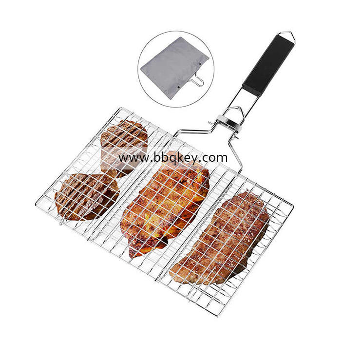 Professional Portable Burger Grill Basket Stainless Steel Foldable Grilling Basket For Wholesale