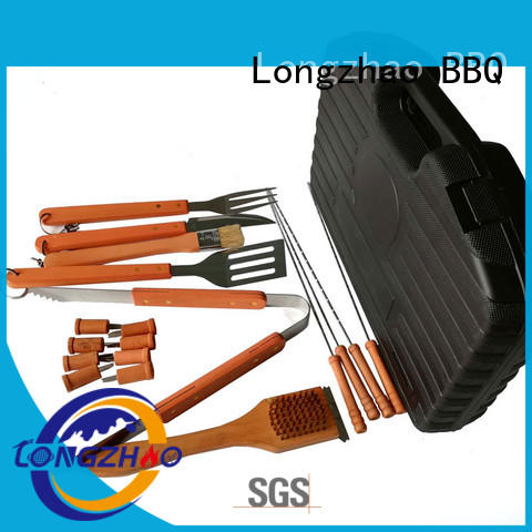 Longzhao BBQ stainless steel barbecue tool set cardboard for outdoor camping