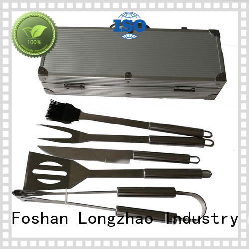 High quality BBQ Tools Set 5pcs Stainless Steel Barbecue Tools with Aluminum Case