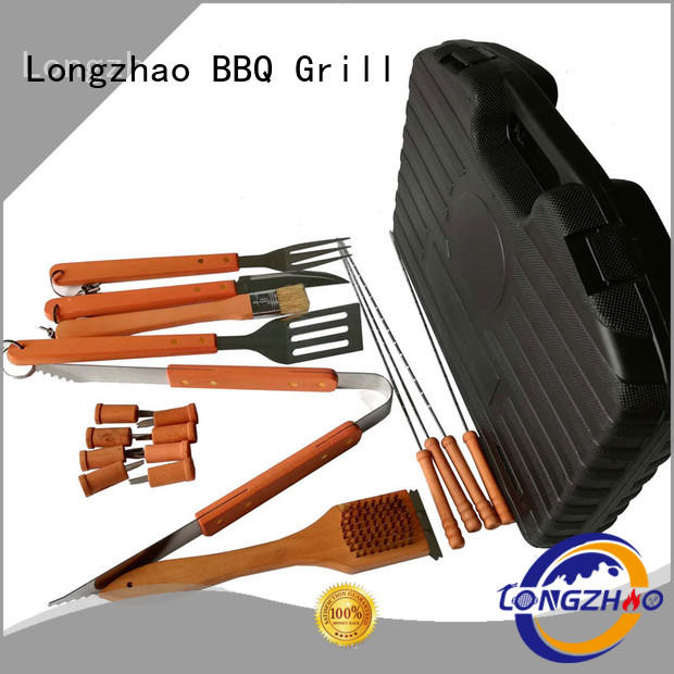 Outdoor Camping Heat Resistance Wooden Handle BBQ Tools Set with Plastic Case