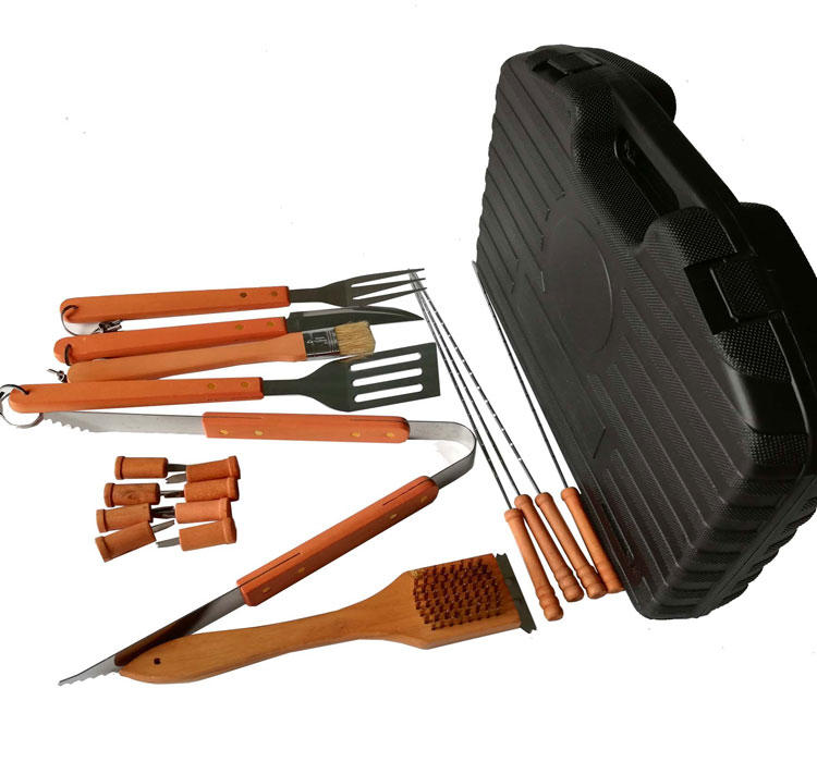 Outdoor Camping Heat Resistance Wooden Handle BBQ Tools Set with Plastic Case-1