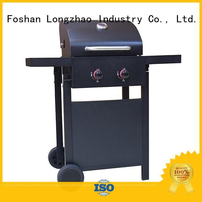 Longzhao BBQ Brand trolley lpg burner custom 2 burner gas grill