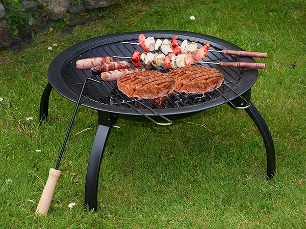 round metal patio fire pit grill trolley for outdoor cooking Longzhao BBQ-5