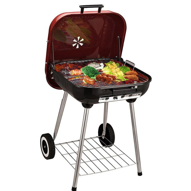 18 Trolley Garden Charcoal BBQ Cooking Grill in Red