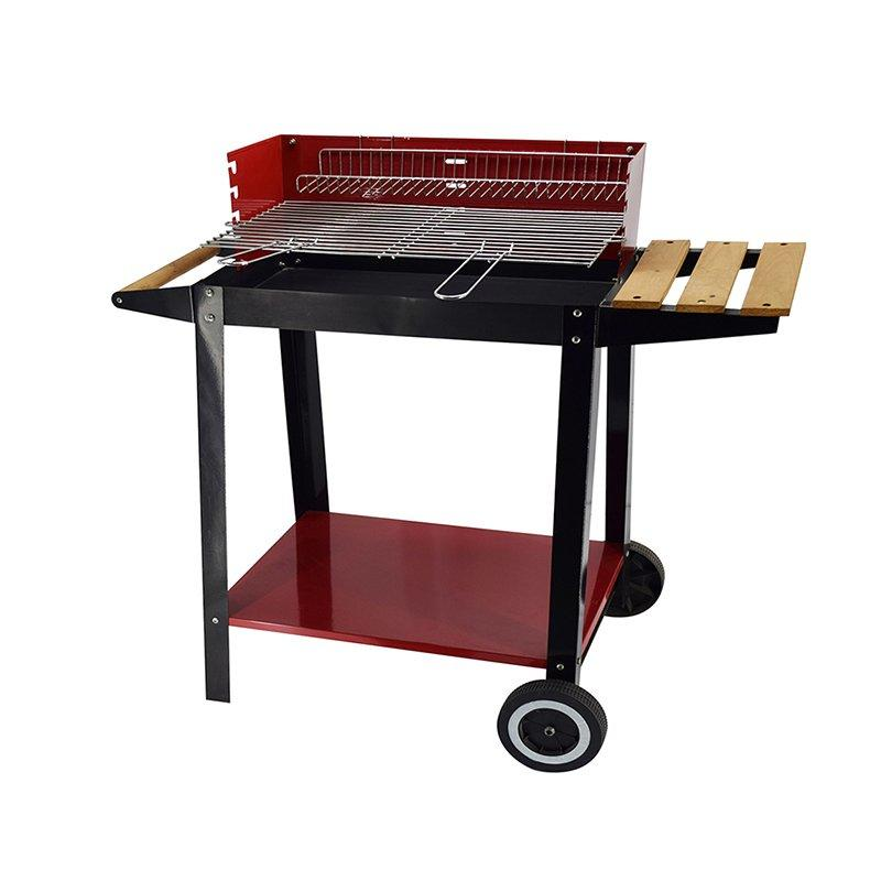 Red Rectangular Charcoal Patio BBQ Grill With Side Table