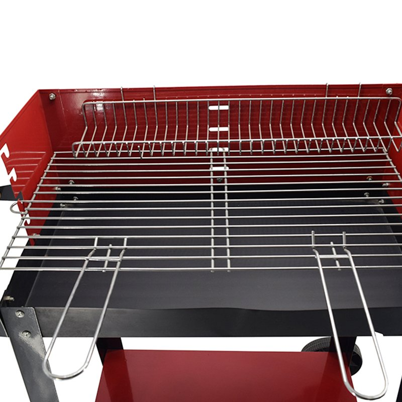 Longzhao BBQ Red Rectangular Charcoal Patio BBQ Grill With Side Table Charcoal BBQ Grill image7