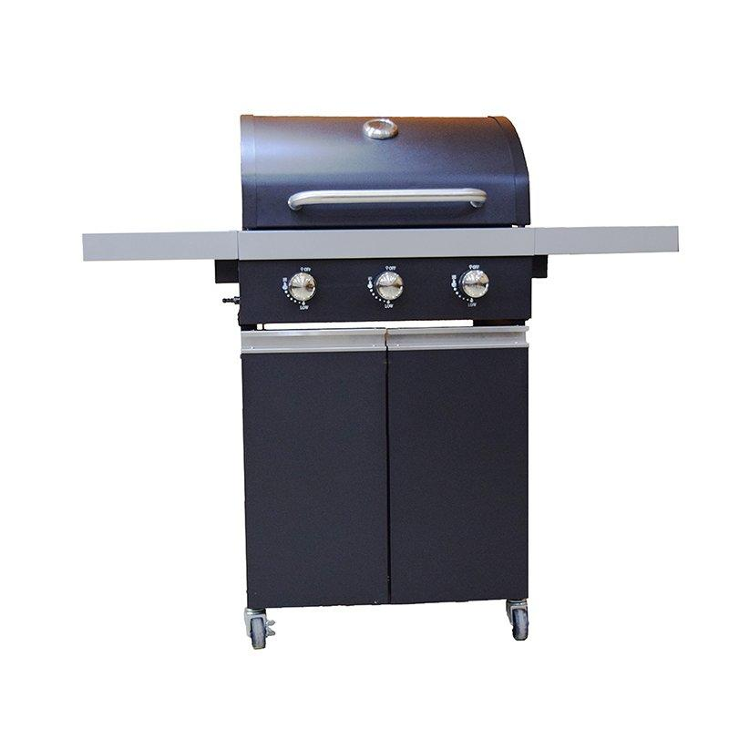Black Trolley Cart 3 Burners Patio Gas BBQ Grills