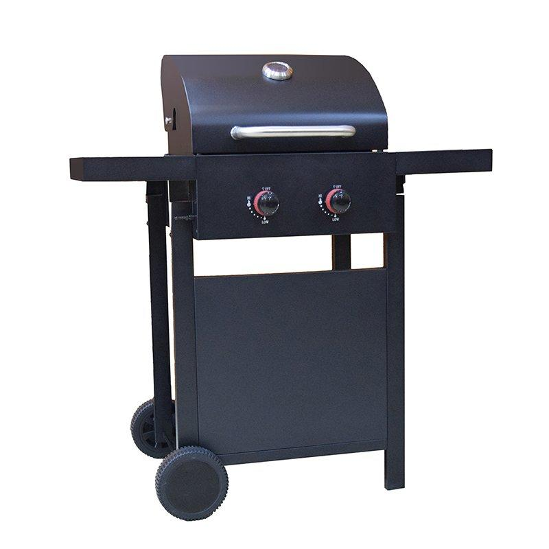 Easy Moving Cast Iron 2 Burners Butane Backyard BBQ Grill
