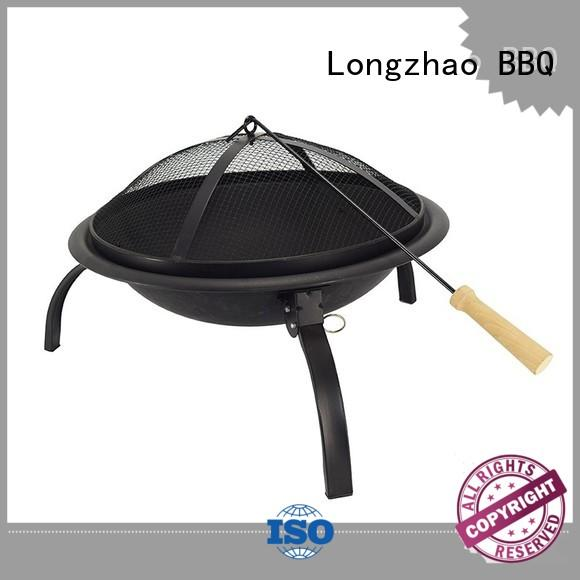 round metal patio fire pit grill trolley for outdoor cooking Longzhao BBQ